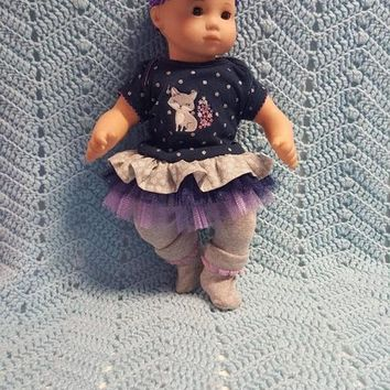 "15 inch Baby ""Silver Fox"" doll outfit Will fit Bitty Baby® Bitty Twins® dress capri leggings socks headband/ hairclip C10"