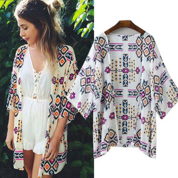 Flower Print Chiffon Beach Cover Up Blouse