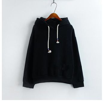 Women Sweatshirts Sale Candy 10 Color Long Sleeved Thick Casual All-match Solid Leisure Loose Tops