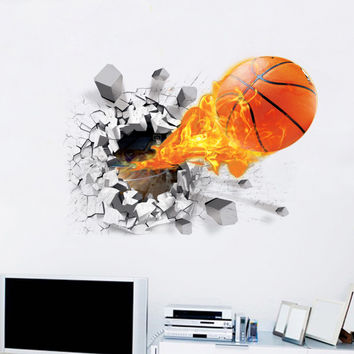 New Arrival 3D Lifelike Basketball Wall Stickers NBA Basketball Decoration DIY Cartoon Kids Room Wall Sticker Mural Art