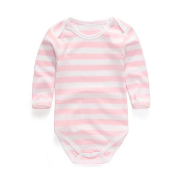 High Quality Stripe Round Collar Long Sleeves Bodysuit Baby Cheap Unisex Newborn Clothes