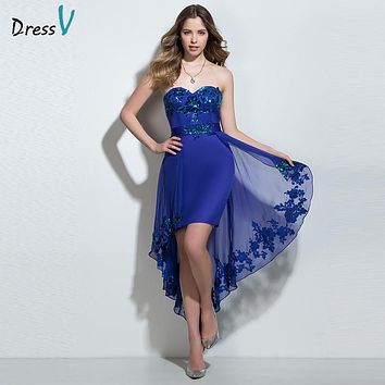 Dressv indigo appliques sequins high low cocktail dress sweetheart sheath chiffon asymmetry sleeveless sexy cocktail prom dress