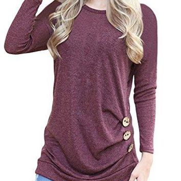 Yidarton Womens Long Sleeve Casual Loose Cotton Tunic Tops Shirts Blouse