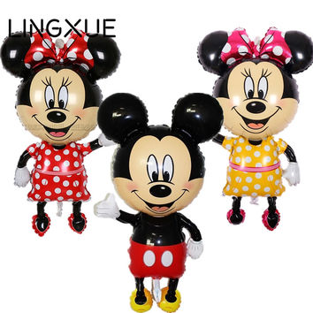 New! 112*64cm Red bowknot Mickey Minnie Mouse foil Balloons Classic kids Toys Birthday Wedding Party inflatable air balloons