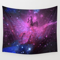 Pink N Blue Floral Space Explosion Wall Tapestry by Minx267