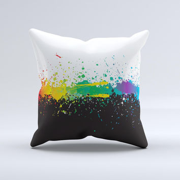 Rainbow Paint Spatter ink-Fuzed Decorative Throw Pillow