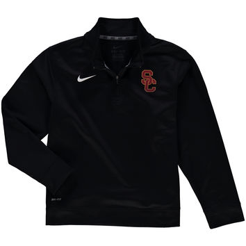 Nike USC Trojans Youth Black Dri-Fit Quarter-Zip Pullover Jacket