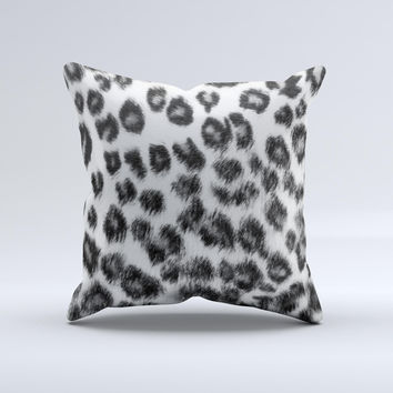 Real Snow Leopard Hide ink-Fuzed Decorative Throw Pillow