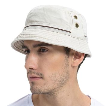 VOBOOM Summer Beige Bucket Hat Men Plain Solid Wide Brim Twill Cotton Boonie Giggle Hats Eyelets Sun Cap Panama Fishing Caps 102