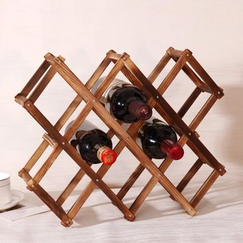 1Pcs High Quality New Wood Folding Wine Racks Foldable Wine Stand Wooden Wine Holder 10 Bottles Kitchen Bar Display Shelf