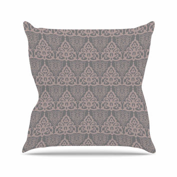 "Gukuuki ""Jaffa Mosaic"" Maroon Pastel Outdoor Throw Pillow"
