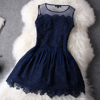 Fashion Blue Hook Flower With Lace Skirt -Fashion Shopping Mall