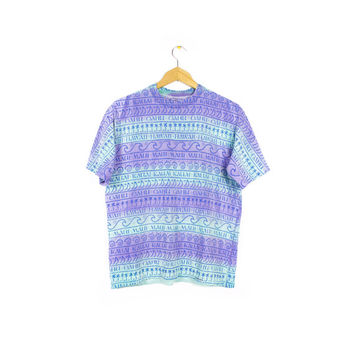 80s pastel maui tee / vintage 1980s shirt / purple tye die / small - medium