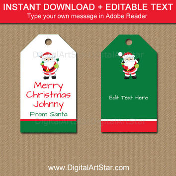 INSTANT DOWNLOAD Christmas Tags, From Santa Gift Tags, Christmas Wine Bottle Tags, Santa Wine Bottle Tags, PRINTABLE Santa Tag Download C5