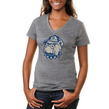 Georgetown Hoyas Ladies Distressed Secondary Tri-Blend V-Neck T-Shirt - Ash