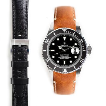 Everest Curved End Leather Strap with Tang Buckle for Rolex Submariner
