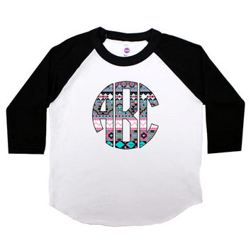 Aztec Tribal Circle Monogram Three Quarter Sleeve American Apparel Raglan Kids T Shirt Girls Personalized Baby Toddler Baseball Tee Girl 286