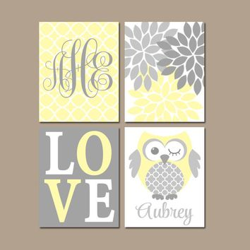 Owl Nursery Wall Art, YELLOW GRAY Owls, Baby Girl Monogram Decor, Bedroom Pictures, Love Flower Burst, CANVAS or Prints, Set of 4 Wall Decor