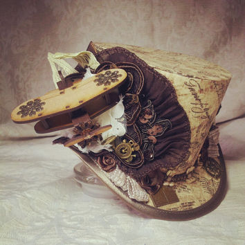 Womens top hat - Steampunk, Clockwork, Carnival, Time Traveller, Mad Hatter, Biplane, Adventurer, Explorer, Alternative, Festival, Sherlock