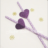 Party Straws, Purple Glitter Hearts, Lavender Polka Dots, Wedding Supply, Bridal Shower Decor, Sweet 16, Birthday, Set Of 24, FREE SHIPPING