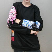 Harajuku Sakura Wave Embroidered Sweater