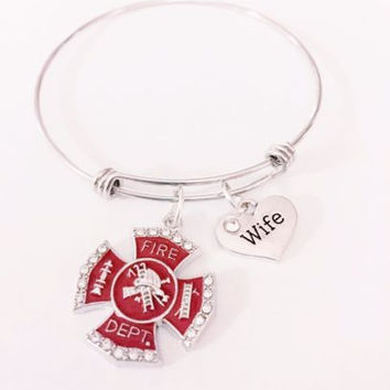 Firefighter Wife Fireman Red Maltese Cross Gift Adjustable Bangle Charm Bracelet