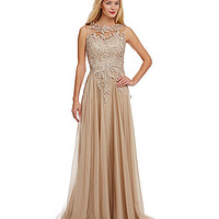 Mac Duggal Beaded Lace Bodice Chiffon Gown - Stone