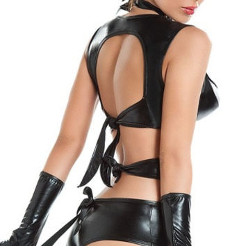 The game uniform lingerie catwoman patent leather lingerie nightclub performance clothing DS PU (Size: M) = 1931707268