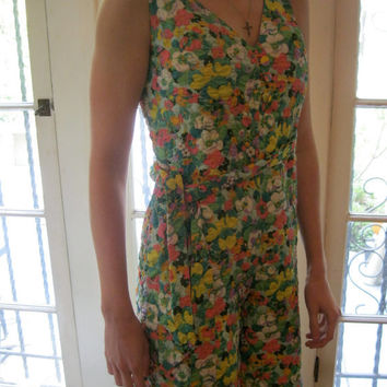 60s playsuit / Jumpsuit / Silk Hostess Pantsuit / Palm Beach in the 60s/ Hipster / Mod / Unique Romper