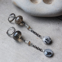 Snow Melt - Rutilated Quartz Earrings and glass beaded on silver chain