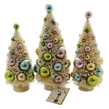 Easter PASTEL COLORED TREES SET / 3 Bottle Brush Village Accessory Sn7362