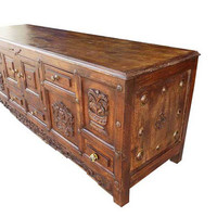 Antique Indian Chest Hand carved teak Drawer cabinet media console bench floral carvings brass knobs
