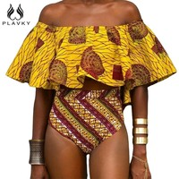 Sexy Yellow Aztec Striped Ruffled Off Shoulder Bikini Bathing Suit Swimsuit Swimwear Women High Waist Bikini Set