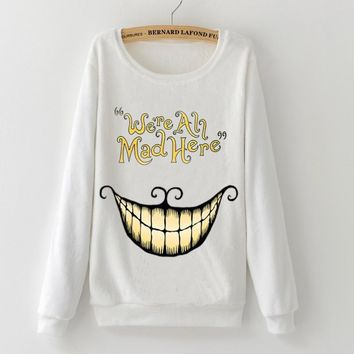 Fashion Alice in Wonderland Cheshire Cat Mike Harajuku 2017 winter Flannel Full sleeve Pullovers tops woman Hoodies Sweatshirts
