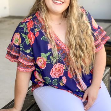 Cruisin' Through Summer Navy Floral Top l Plus Size - 2XL Left