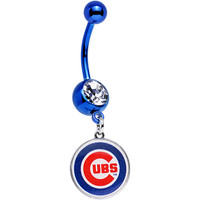 Licensed MLB Clear Gem Blue Anodized Chicago Cubs Dangle Belly Ring | Body Candy Body Jewelry
