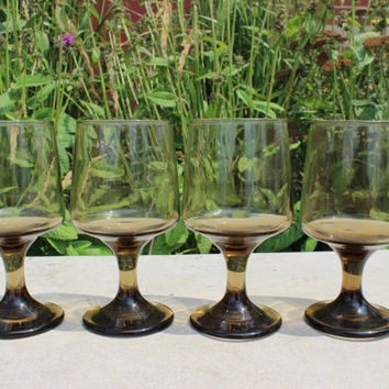 Vintage glassware, set of Tawny Accent water goblets by Libbey, 16 AVAILABLE, Retro Bar glasses, Brown wine glasses, brown wedding goblets