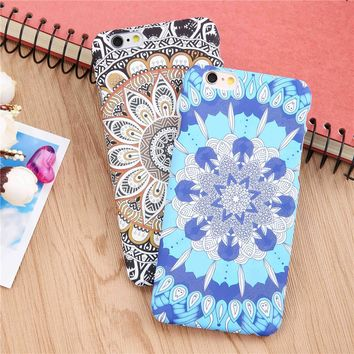 Fashion Palace Flower Phone Cases For Iphone 6 6s Plus Case Retro Floral Henna Paisley Mandala Pattern Hard PC Matte Cover Funda