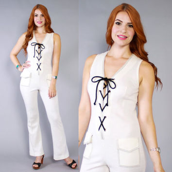 60s NAUTICAL Lace-Up JUMPSUIT / 1960s Sleeveless Ivory Knit Bell Bottom Jumper xs