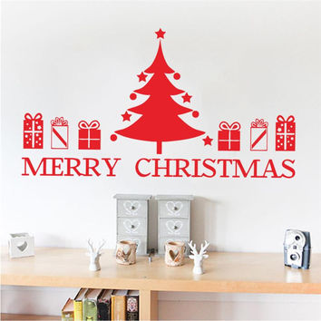 merry christmas tree quote holidays wall stickers room decor 050. diy vinyl gift home decals festival mual art poster 3.5 SM6