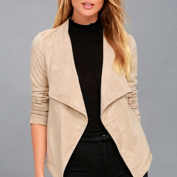 Wade Light Beige Vegan Suede Jacket