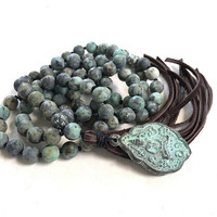 African Turquoise Mala Beads, Mala For Change, Leather Tassel Mala Necklace, Buddha Pendant Mala Bead, 108 Bead Meditation Mala