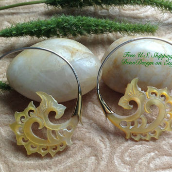 "Tribal Hanging Earrings, ""Golden Flowers"" Naturally Organic, Mother of Pearl, Brass/Sterling Posts, Hand Carved"