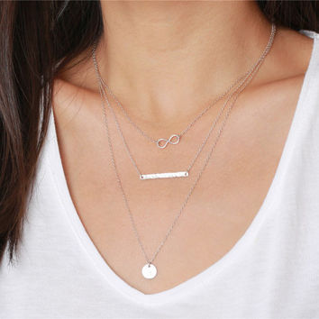 Sterling silver infinity, long stick bar and initial circle - sterling silver necklace - every layering jewelry