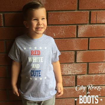 """Red White and Cute"" Toddler Tee"