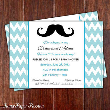 Mustache Baby Shower Invitation - Chevron - Blue - Boy Baby Shower Invite - Free Thank you card