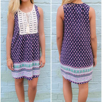 Little St. Simons Island Navy Pattern Crochet Neck Tassel Dress