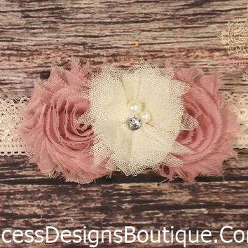 Harlequin Rose And Lace Vintage Baby Girl Headband!