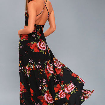 Valeria Black Floral Print Two-Piece Maxi Dress