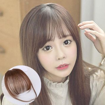Fashion Girl Real Human Hair Thin Neat Air Bangs Clip In Fringe Front Hairpieces